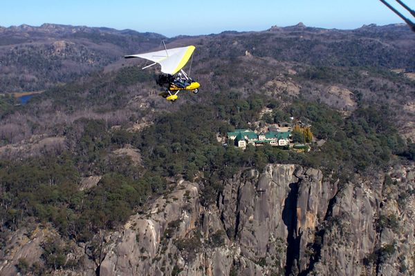 Microlight flight over Mt Buffalo, Victoria, Australia